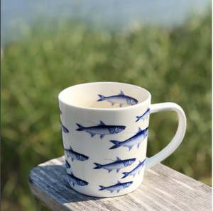 School of Fish Blue Wide Coffee Mug