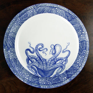 Blue Lucy Octopus Accent Dessert Plate with Sea Fan Blue Dinner and Charger Plate
