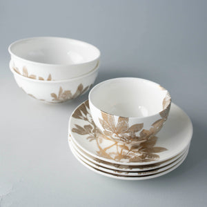 Arbor Gold Appetizer Plates Set/4 with Arbor Gold Snack Bowl and Cereal Bowls