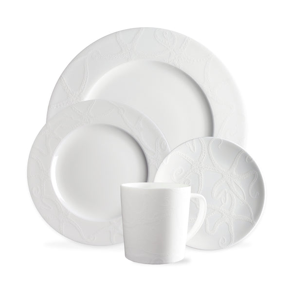 Starfish White 4 Piece Place Setting (Dinner, Salad, Bread Plate, Mug)