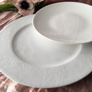 Summer Floral White Accent Dessert Plate and Dinner Plate