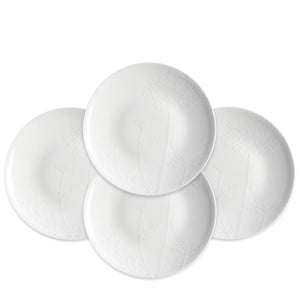 Summer Floral White Accent Dessert Plates Set of 4