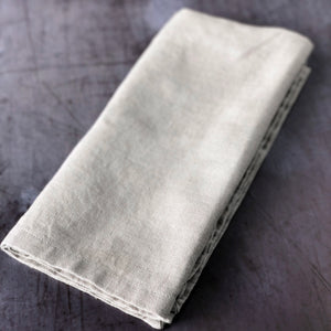 Taupe Linen and Cotton Blend Napkin Folded