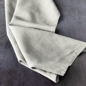 Taupe Linen and Cotton Blend Napkin Shown Unfolded