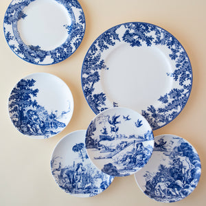 Williamsburg Toile Tales Dinner Plate and Salad Plate and Set of 4 Appetizer Plates in Blue and White