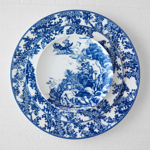 Toile Tales Dinner Plate, Salad Plate, and Bread Plate in Blue and White Dinnerware Collection
