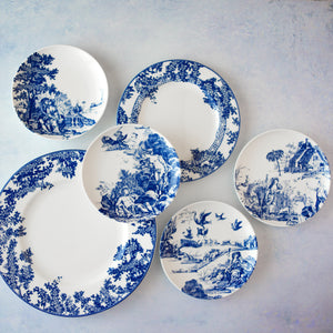 Blue and White Toile Tales Dinnerware Collection with Dinner Plate, Salad Plate, and Set of 4 Canape Plates