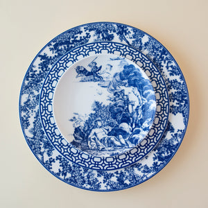 Williamsburg Toile Dinner Plate with Newport Geometric Salad Plate and Toile Canape Plate in Blue and White