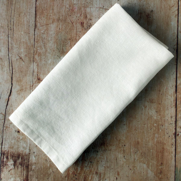 White Linen Cotton Blend Napkins - Set of 4