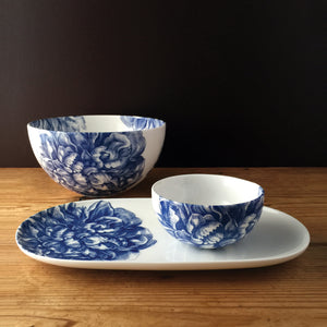 Peony Blue Small Snack Bowl with Small Coupe Oval Platter and Serving Bowl