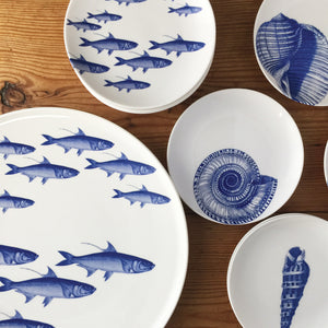 School of Fish Blue Round Coupe Platter and Appetizer Plates with Shells Blue Appetizer Plates