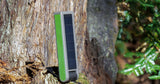 solar panel collecting energy for powerbank and lantern for camping and power outages.