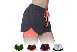 Sport Fitness Yoga Shorts 2 In 1 Quick Dry Athletic Running Jogging Elastic Waist Women Short Pants