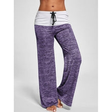 Load image into Gallery viewer, Women's Color Block Wide  Yoga Pants Middle Waist Loose Long Pants