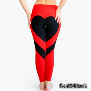 Women Special Design Love Yoga Leggings Heart Booty Pants Running Tights Crop Workout Pants FV0158