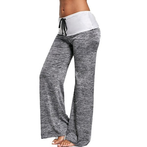 Women's Color Block Wide  Yoga Pants Middle Waist Loose Long Pants