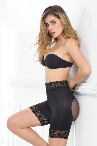 LACE & SHEER HIGH-WAISTED MID-THIGH SHORT