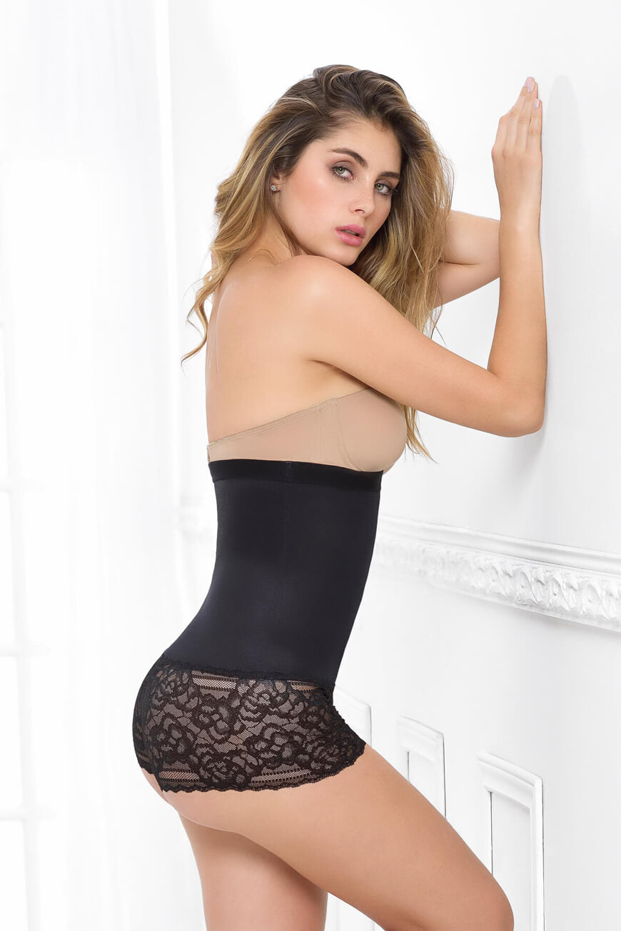 LACE & SHEER HIGH WAISTED BOYSHORT
