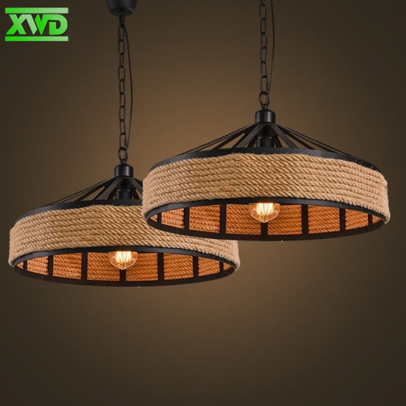 Rustic Style Hemp Rope & Iron Ceiling Hanging Lighting Fixture