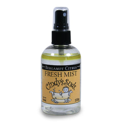 Cindy's Suds - Bergamot Citrus Fresh Mist 4 oz plastic bottle with black fine mist spray top