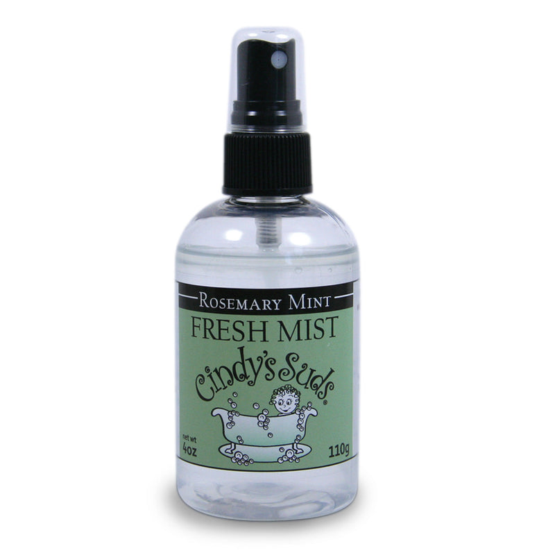 Cindy's Suds - Rosemary Mint Fresh Mist in 4oz plastic bottle with black fine mist spray top