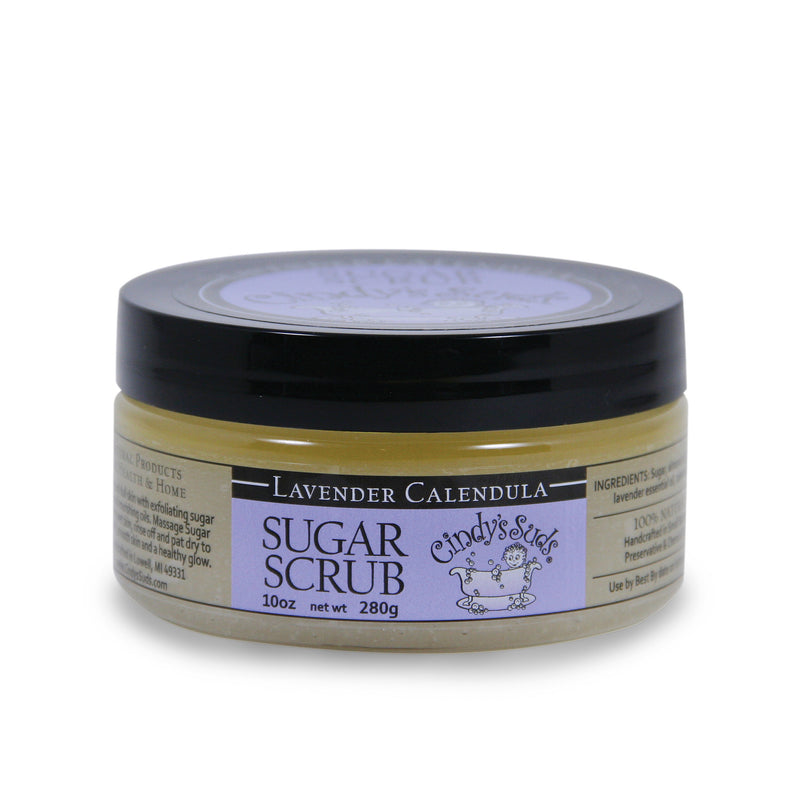 100% natural lavender calendula sugar scrub 10 oz jar