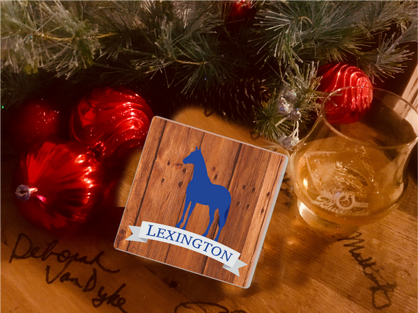 "Absorbent Stone Coaster ""Blue Lexington"""