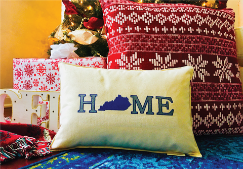 "Custom-Embroidered ""HOME is Kentucky"" Pillow (18"" x 12"" Lumbar)"