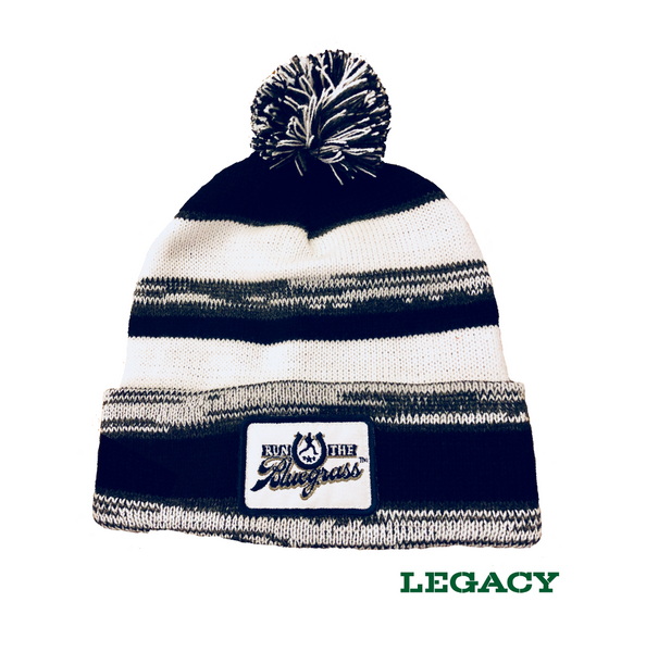 Cable Knit Winter Hat - Navy, White & Gray