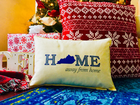 "Custom-Embroidered ""Home Away from Home"" Pillow (18"" x 12"" Lumbar)"