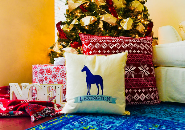 "Custom-Embroidered ""Blue Lexington"" Pillow (18"" x 18"" square)"