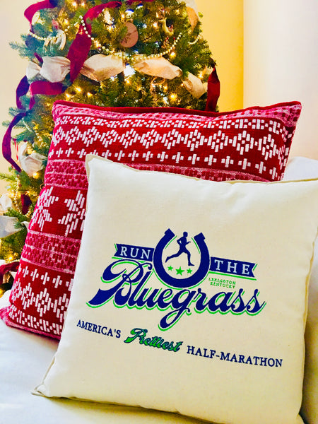 "Custom-Embroidered RunTheBluegrass Logo Pillow (18"" x 18"" square)"