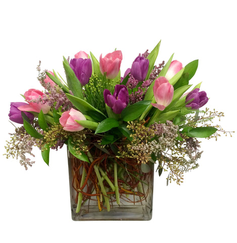 16 Tulips with Seeded Eucalyptus