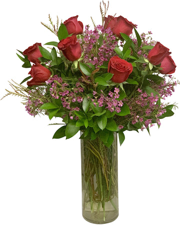 1 Dozen Rosaprima Red Roses with Waxflower and Ruscus