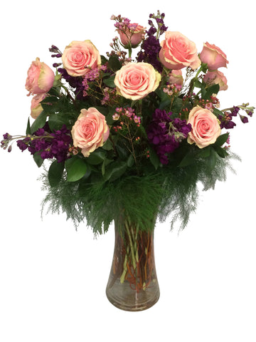 1 Dozen Geraldine Roses with Stock and Waxflower
