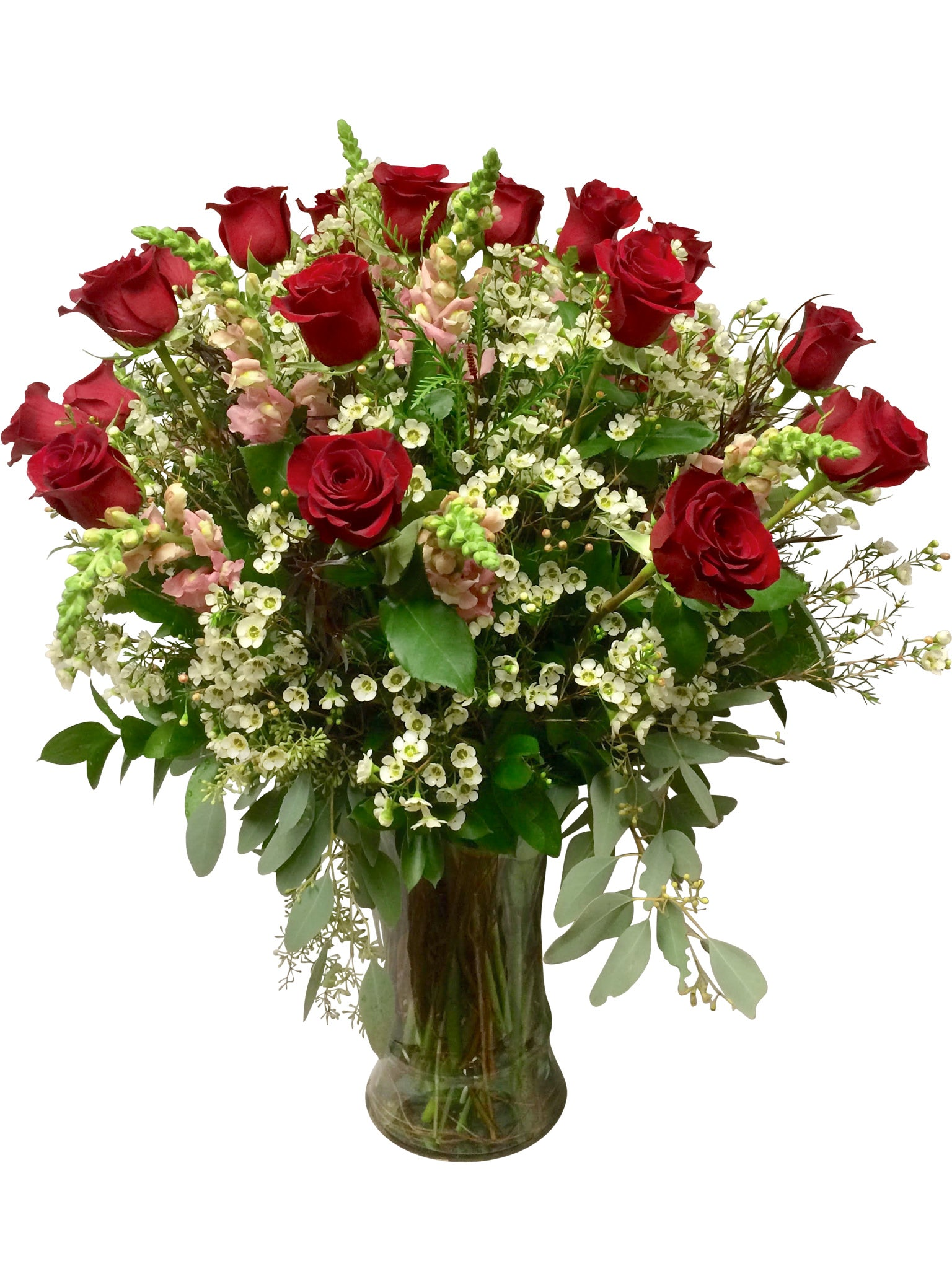 2 Dozen Rosaprima Roses With Snapdragons In Ibiza Vase The Cutting