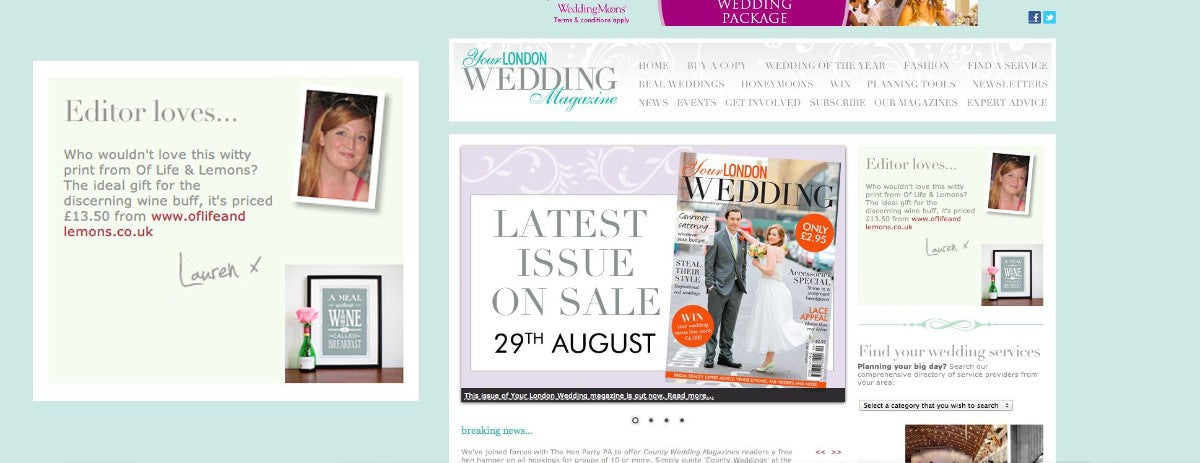 Editors pick popular on web pictures - Print Was Featured As An Editors Pick On The County Wedding Magazines Websites