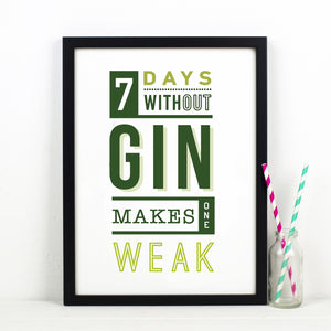 DISCONTINUED - Funny Typographic Gin Print-A4 Print-Of Life & Lemons®