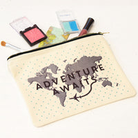 'Adventure Awaits' Canvas Pouch-Tote Bag-Of Life & Lemons®