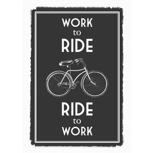 'Work to Ride' Bicycle Quote Print-A4 Print-Of Life & Lemons®