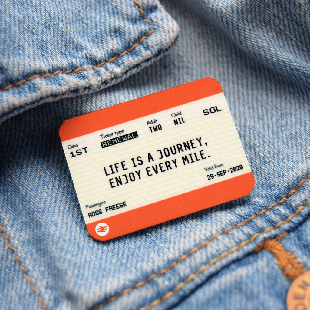 Personalised Train Ticket Birthday Badge