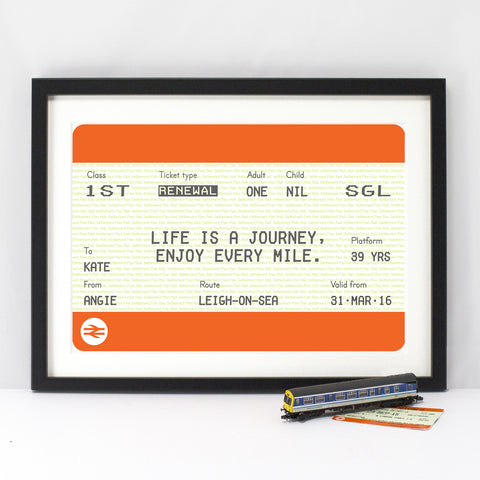 Personalised Train Ticket Birthday Print