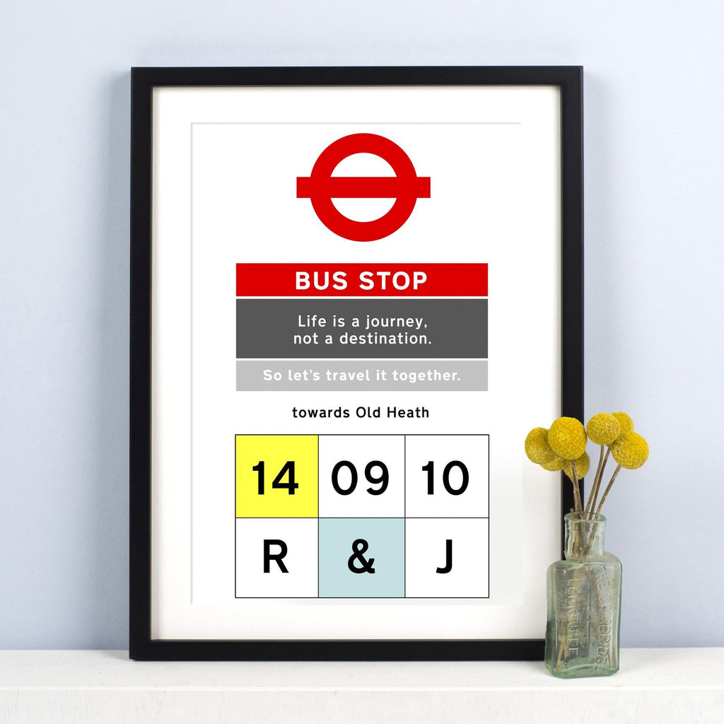 Personalised Bus Stop Print-A4 Print-Of Life & Lemons®