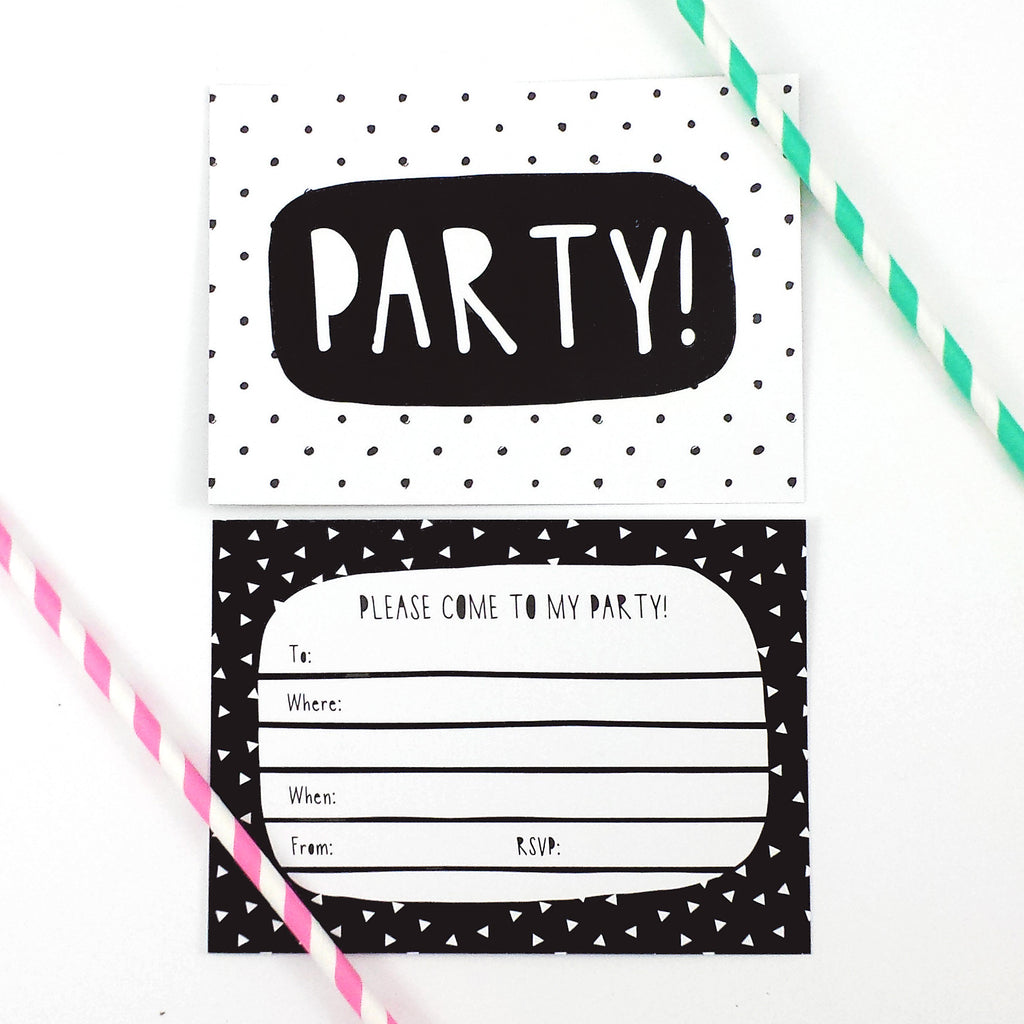 Black & White Party Invitations-Of Life & Lemons®