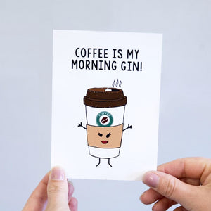 'Coffee - Morning Gin' Postcard-A4 Print-Of Life & Lemons®