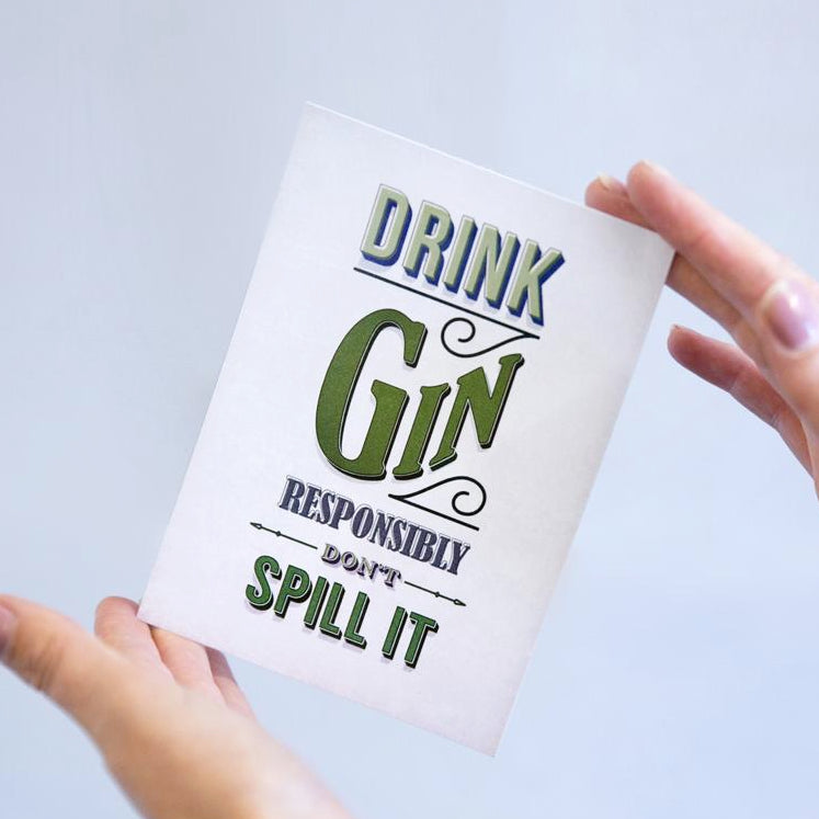 'Drink Gin Responsibly' Postcard-A4 Print-Of Life & Lemons®