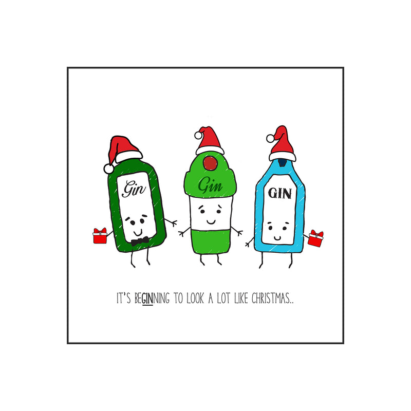 'It's BeGINning To Look Like Christmas' Funny Gin Christmas Card-A4 Print-Of Life & Lemons®