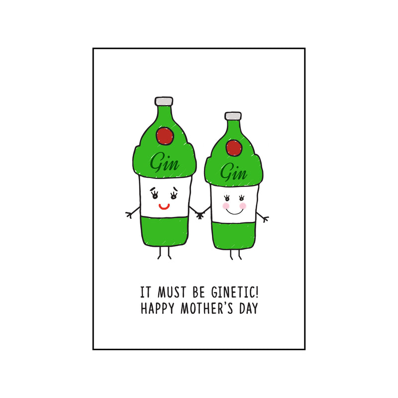 'Ginetic' Funny Gin Mother's Day Card-A4 Print-Of Life & Lemons®