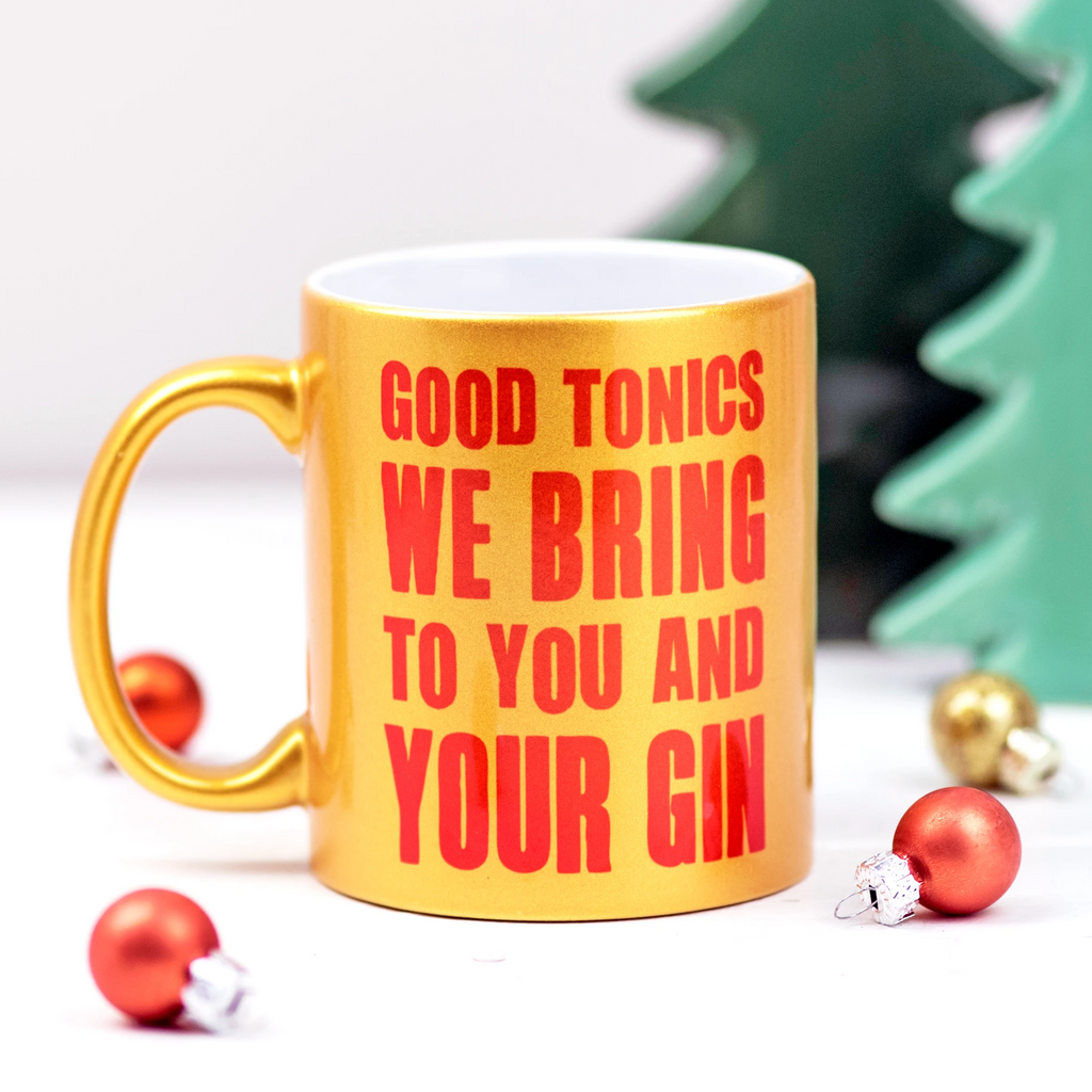 Gold ' Good Tonics We Bring' Christmas Mug-Of Life & Lemons®