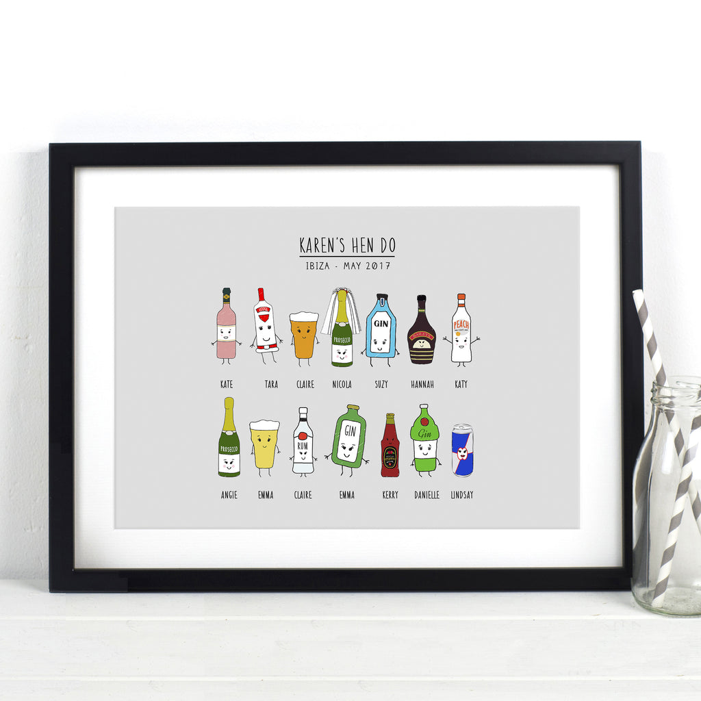 Personalised Hen Party Print-A4 Print-Of Life & Lemons®